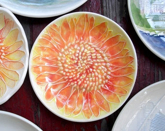 Sherbet Sunflower dish   Ceramic Watercolor one-of-a-kind   sd-1