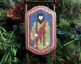 Joseph Christmas Tree Ornament - Foxwood Crossings Cross Stitched Sled Holiday Ornament - Free U.S. Shipping