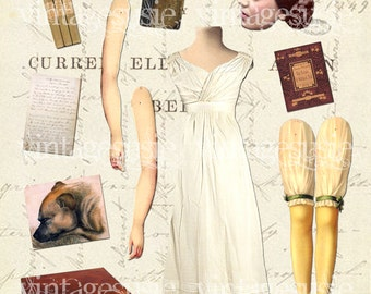Bronte Sisters Art Paper Doll Collage Sheet of AUTHOR 'ANNE BRONTE' digital download Tenant Wildfell Hall