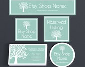 ON SALE - Etsy Shop Covers - Blue Etsy Covers Branding Package - Advance Startup W/ Business Card & Label Designs Etsy Cover Bundle Tree 1