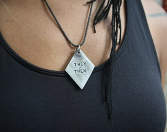 PRONOUNS - Solid Steel Industrial Styled Queer LGBT Identity Tag Pendant or Necklace – They/Them, She/Her, He/Him, Xe/Xer