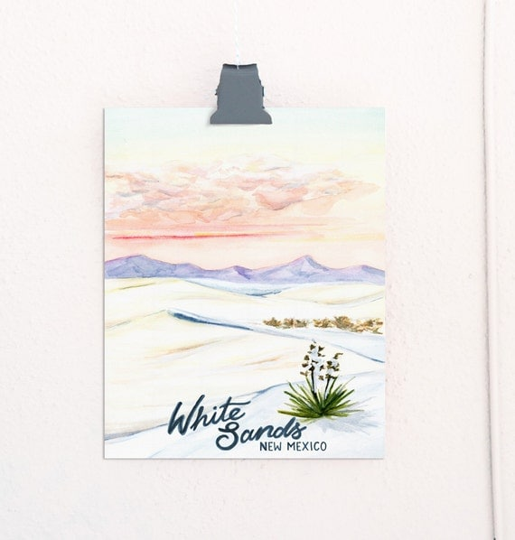 White Sands, New Mexico National Monuments Travel Poster