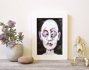 """contemporary expressionism: """"Byron (abject head #1),"""" original mixed media painting"""