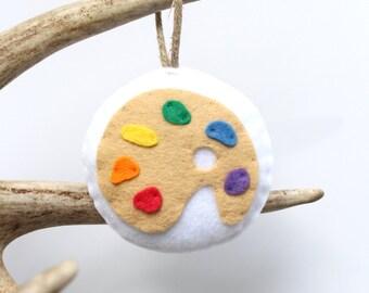 Paint Palette Christmas Ornament . Felt Christmas Ornament . Art Ornament . Gift for Artist . Gift for Art Teacher (Made to Order)