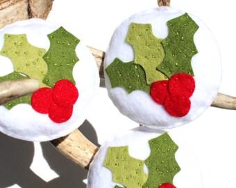 Holly Christmas Ornament . Felt Christmas Ornament