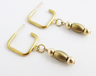 Gold Square with Bronze Bead Drop Earrings - Stud Earrings - Square Studs - Square Hoop - D-10