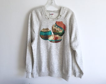 Southwest Puffy Paint Sweatshirt / Southwestern Pottery Boho Oversized 80's Gray Sweater / Glitter Navajo Tribal Native Painted Pullover