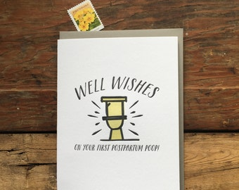 SASS-631 Well wishes postpartum poop baby letterpress card