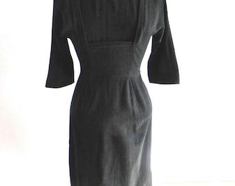 Vintage 1950s wiggle Dress - 50s Black Wool Wiggle dress with Shelf Bust Sm - on sale