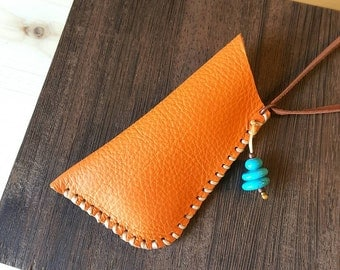 Orange leather pouch - handmade amulet bag - Native American medicine bag - upcycled leather pouch from industrial scrap - unique jewelry