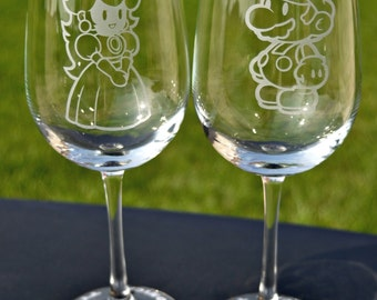 Super Mario Brothers Mario Princess Peach  Inspired Etched Glasses Your Choice for Wedding Couple Toast by Jackglass on Etsy