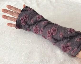 Fingerless Gloves, Wool Arm Warmers, Wrist Warmers, Wool Fingerless Mittens, Wool Fingerless Gloves in Grey and Burgundy, Gauntlets