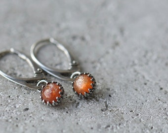 Sunstone earrings, sterling silver dangle earrings, gemstone dangles, leverback earrings, small earrings