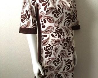 Vintage Women's 60's Mod Dress, Brown, Cream, Floral, Polyester (S)