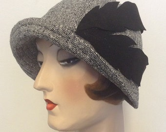 Sale.Silk tweed fabric cloche, flapper hat, gatsby hat, travel sun hat.