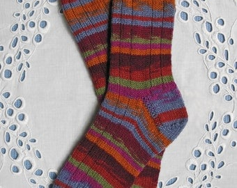 LADIES SOCKS  Hand Knit Superwash Wool - Glowing Embers Regia  Kaffe Fassett Collection - Medium Sz.