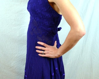 Vintage Purple Cotton Halter Summer Hippie Dress