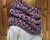 Bubble Stitch Crochet Purple Cowl - HIGHLAND