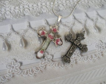Victorian Oxidized Reversible 2 In 1 Pressed Flower Cross Pendant-Pink Veronica,Ferns-Symbolizes Faithfulness,Perseverance-Gifts For 27