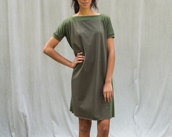 Color Block Dress, Women's Dress, Green Dress, Bamboo Jersey, Tunic- made to order