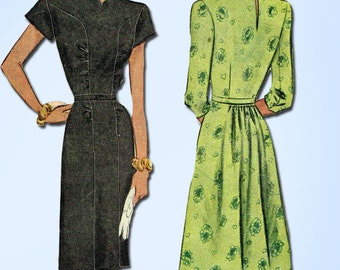 1940s Vintage McCall Sewing Pattern 6314 Misses WWII Street Dress Size 12 30B