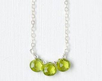 Sterling Silver Peridot Necklace / Three Stone Peridot Necklace / Small Green Gemstone Necklace / August Birthstone Jewelry