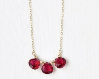 Red Gemstone Necklace / Three Stone Necklace / Cherry Red Quartz Gold Fill / Delicate Gemstone Jewelry