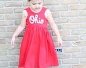 OHIO Dress, Red and White dress,  OR Gray and Red, Ohio made (made to order unless in stock) script