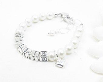 Baby Bracelet // Baby Girl Bracelet // Name Bracelet // Child Name Bracelet // Baby Girl Name Bracelet // Baby Name Bracelet // Real Pearl