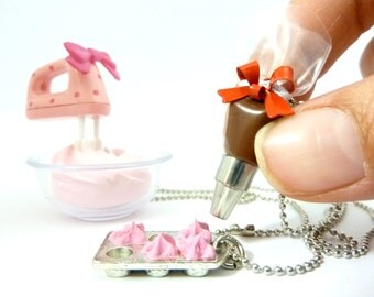 """The Bakers Necklace """" Who Ate My Cupcakes"""" Miniature Silver Cupcake Muffin Pan with fake cupcake frosting Pastry Bag Charm"""
