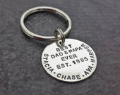 Personalized Dad Key Chain - Hand Stamped Sterling Silver - Dad Daddy Father Grandpa Grandfather Gifts - Fathers Day - Gifts for Dad
