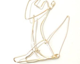 Silver Fox Wire Ornament - wire fox ornament / pendant