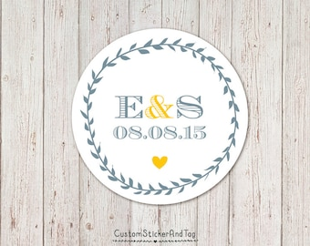 personalized stickers with leafy border, wedding favor, envelope seals, welcome bag stickers, custom wedding stickers, wreath sticker (S-66)