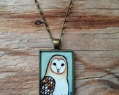 Barn Owl Necklace, Hand Painted Pendant Art, Brown Owl, Original Watercolor Painting
