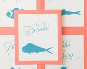 Fish Table Number Wedding Decor Reception Sign Cards Made to Order Beach Seashore Seaside Sportfishing Aquatic Ocean