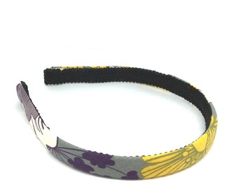 Floral Headband for Autumn and Fall - Charcoal Gray, White, Mustard, Purple - Preppy Fall Headband for girls and adults - Half Inch Headband