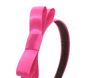 Magenta Pink Bow Headband -  Blair Waldorf Gossip Girl Preppy Big Bow Headband - Large Bow Headband for Adults or Girls in Bright Pink