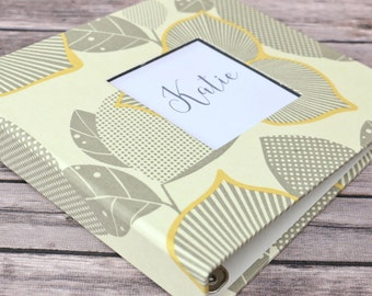 Baby Book, Baby Gift, Baby Album, Baby Memory Book, Baby Keepsake, Modern Baby Book, Yellow and Grey Blossoms Album