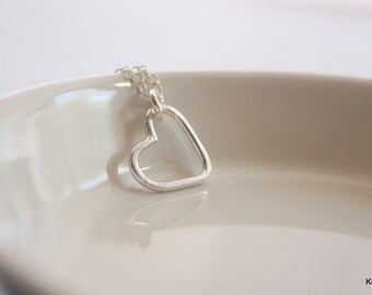 Silver Heart Necklace, Open Heart, Silver Layering Necklace