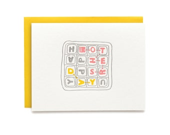 Boggle Mother's Day - letterpress card