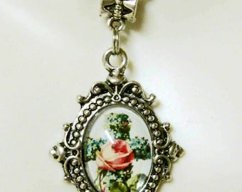 Blue pansy and rose cross necklace - AP17-522