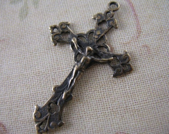 Pure Bronze Crucifix Rosary Parts Religious Supplies Crucifixes Bronze Jewelry Supplies Pendants B700LS