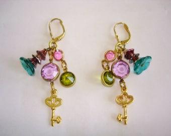 Gold Tone Key  Dangle Earrings