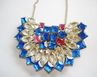 Pendant Buckle Rhinestones Art Deco Blue Clear Rose  Faceted Glass  Vintage Jewelry 41""