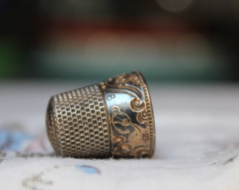 14K Gold Sterling Thimble MKD Ketcham And McDougall 8 Monogramed P VINTAGE by Plantdreaming