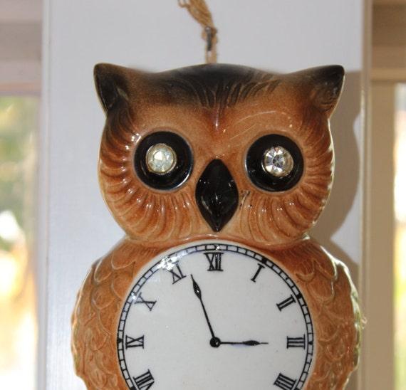 Lefton S Wall Pocket Owl Cuckoo Clock Figurine Rhinestone