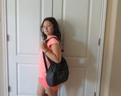 """Medium Black Leather Teardrop Convertible Backpack. Black 13"""" X 9 1/2"""" X 5"""" Lined Leather Made in Mexico Sling Purse"""