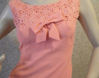 Vtg 1960s Coral Pink Wiggle Maxi Dress with Embroidered lace and Bow at Bodice Medium