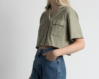 Vintage 90s Bogari Silk & Linen Sage Green Cropped Blouse   S/M