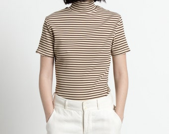 Vintage 90s Cream and Brown Striped Short Sleeve Turtleneck | S